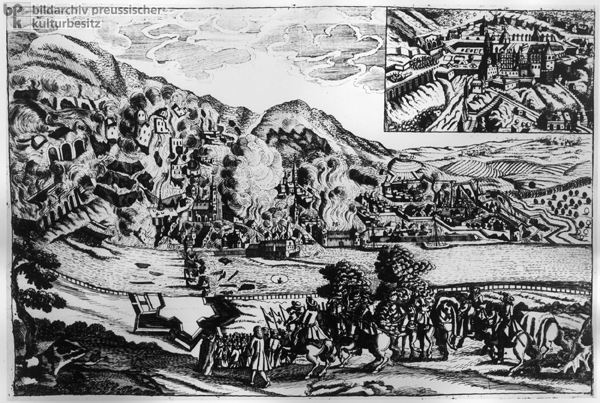 Broadside depicting the Destruction of Heidelberg (1689) under the Leadership of French General Mélac (Undated Engraving)
