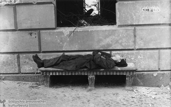 Homeless Man on a Stone Bench (1946)