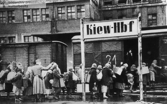 Women from the Soviet Union are Transported to Germany to Perform Forced Labor as so called <I>Ostarbeiterinnen</i> (Female Workers from the East) (1942)