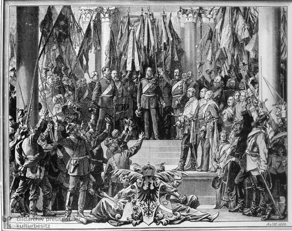 Anton von Werner, <i>The Proclamation of the German Empire (January 18, 1871)</i> – Woodcut Version (1880)