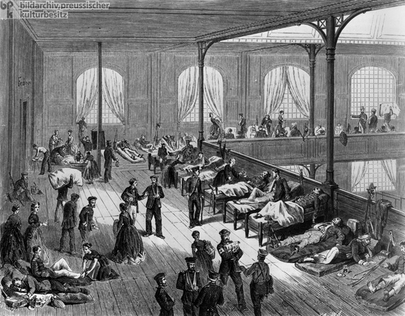 Makeshift Hospital in Leipzig's Gymnastics Hall (July 1866)
