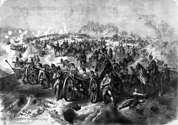 Austrian and Saxon Artillery on the Problus Heights at the Battle of Königgrätz (July 3, 1866)