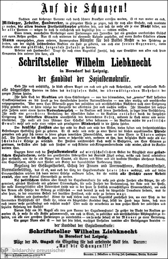 Election Manifesto for Wilhelm Liebknecht (August 30, 1888)