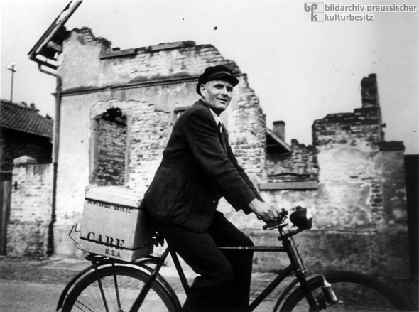 Cyclist Transports a CARE Package (1948)