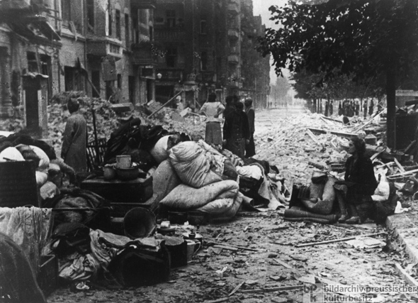"After the ""Storming of Berlin"": Bombed-out People on the Street (May 1, 1945)"