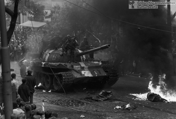 "The ""Prague Spring"" Comes to an End when Warsaw Pact Troops Invade the Czechoslovak Socialist Republic – Soviet Tanks in Prague (August 21, 1968)"