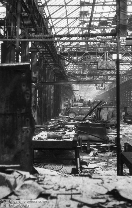 Destroyed Factory Workshop at the Krupp Works in Essen (1947)