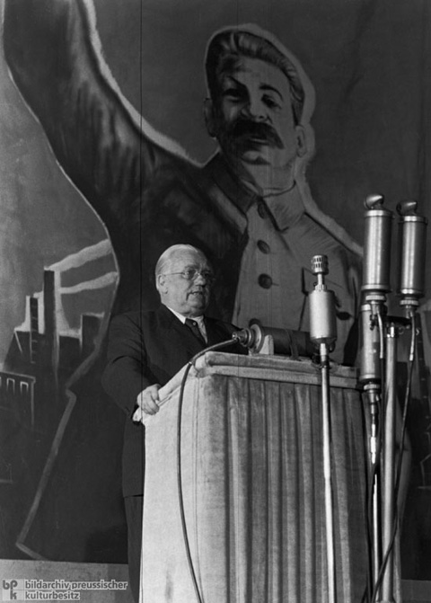 Wilhelm Pieck Giving a Speech at Friedrichstadt-Palast in East Berlin (c. 1950)