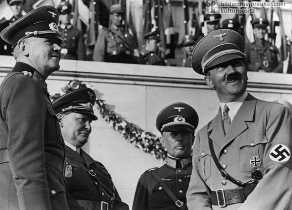 Werner von Blomberg, Hermann Göring, Werner von Fritsch, and Adolf Hitler at the