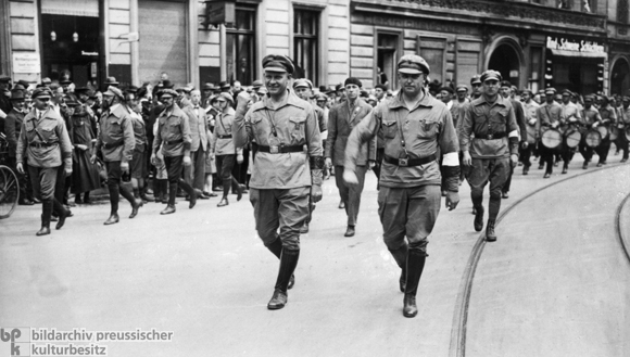 Ernst Thälmann and Willy Leow at the Head of a Red Front Fighters' League Demonstration in Berlin (June 1927)