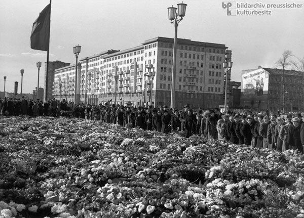 Stalin's Death: Sea of Flowers on Stalinallee in East Berlin (March 9, 1953)