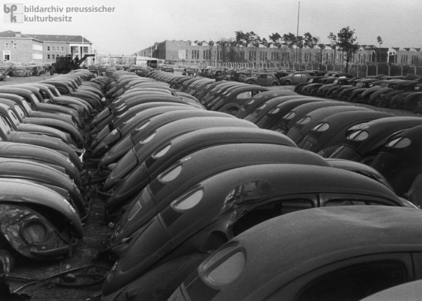 The Volkswagen Factory in the City of Wolfsburg: Scrap Yard for Damaged VW-Beetles (1947)
