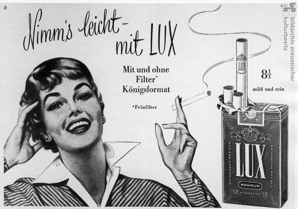 Advertisement for Lux Cigarettes from <i>Quick</i> Magazine (1956)