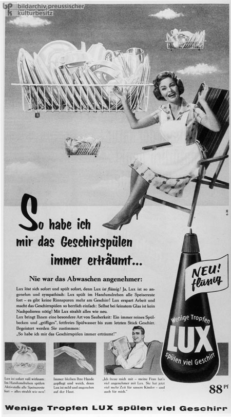 Advertisement for Lux Dishwashing Liquid from <i>Stern</i> Magazine (1959)