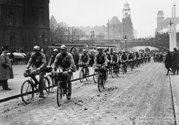 A French Bicycle Brigade Rides through Essen (1923)
