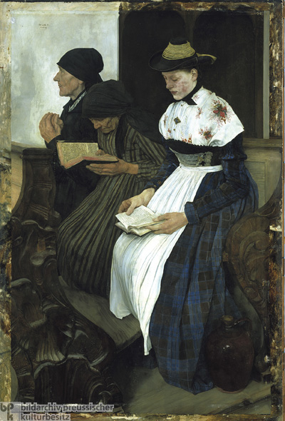 Wilhelm Leibl, <i>Three Women in Church</i> [<i>Drei Frauen in der Kirche</i>] (1882)