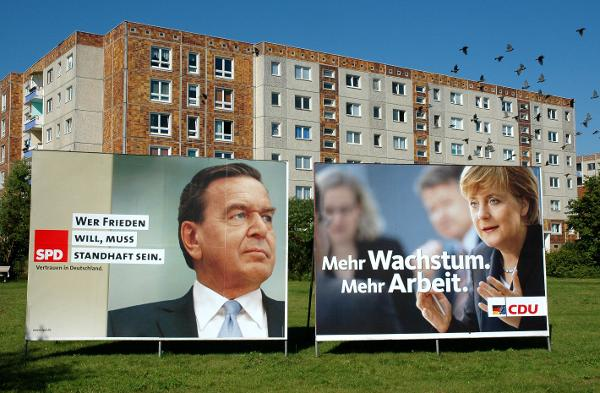 Election Posters: Gerhard Schröder and Angela Merkel (August 23, 2005)