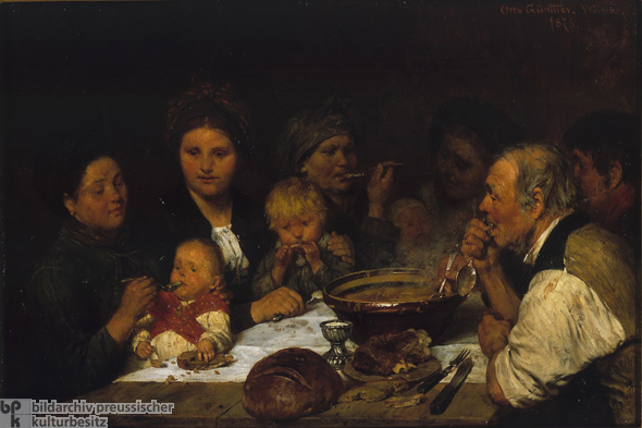 Otto Günther, <i>The Day Laborers' Table</i> [<i>Am Tagelöhnertisch</i>] (1875)