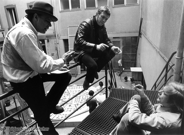 Joseph Beuys with Wolfgang Wiens and Claus Peymann (May 1, 1969)