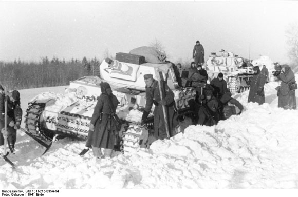 Eastern Front: German Tank Stuck in the Snow (December 1941)