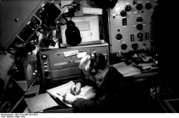"German Radio Operator using the ""Enigma"" Device (March 1941)"