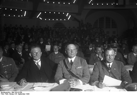 Alfred Hugenberg, Franz von Stephani and Franz Seldte at a Rally against the Adoption of the Young Plan (September 24, 1929)