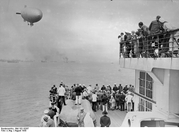 "Passengers Watch a Zeppelin from the Deck of the ""Bremen"" (August 1930)"
