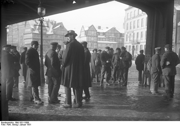Unemployed Dock Workers in the Hamburg Harbor District (1931)