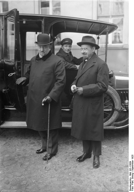 Russian Foreign Minister Chicherin (left) and Russian Ambassador Krestinsky (right) before a Visit to the Foreign Ministry in Berlin (September 1925)