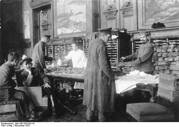Members of Workers' and Soldiers' Council Receiving Provisions in the Reichstag Building (November 1918)