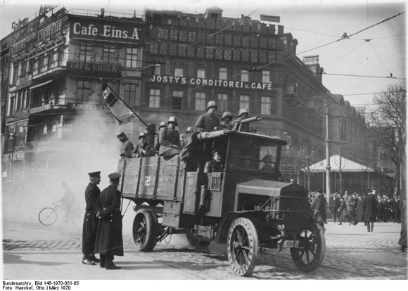 "The Kapp-Lüttwitz Putsch: ""Kapp Government"" Troops in a Truck on Potsdamer Platz (March 1920)"