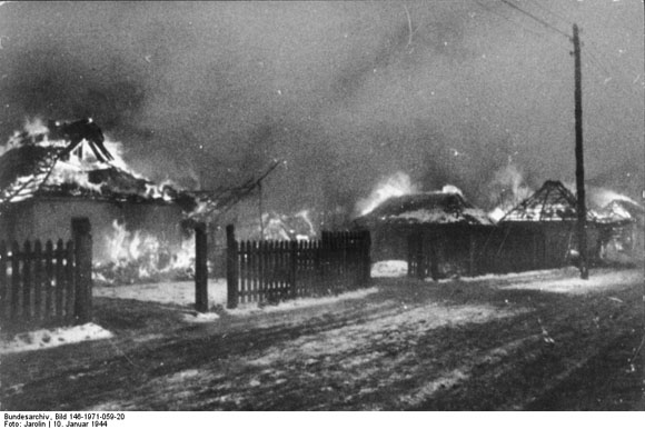 A Russian Village in Flames (January 10, 1944)