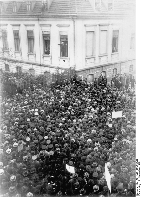 Philipp Scheidemann Giving a Speech from a Window of the Reich Chancellery (November 9, 1918)