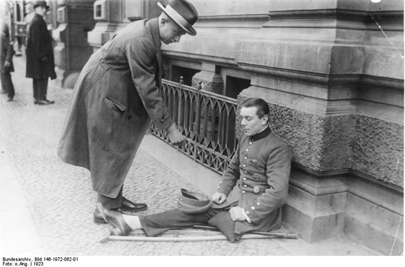 Decorated (Iron Cross) War Veteran Begging on the Street (1923)