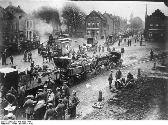 German Troops Returning from the Western Front across the Belgian-Dutch Border  (November 1918)