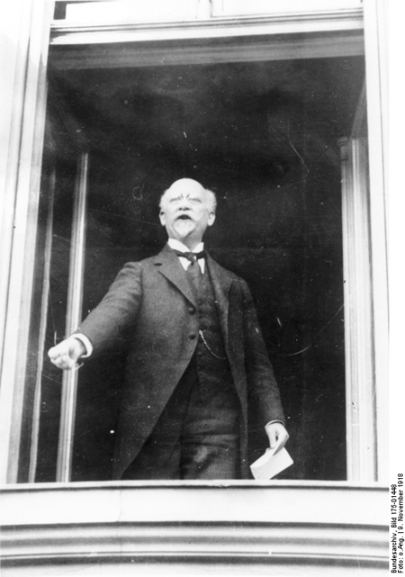 Philipp Scheidemann Giving a Speech from a Window of the Reich Chancellery (Detail) (November 9, 1918)