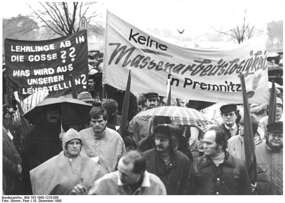 Demonstration against Job Cuts in Premnitz (December 10, 1990)