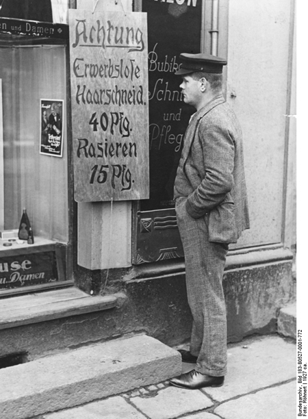 Sign on a Barbershop Announcing Special Prices for the Unemployed (1927)