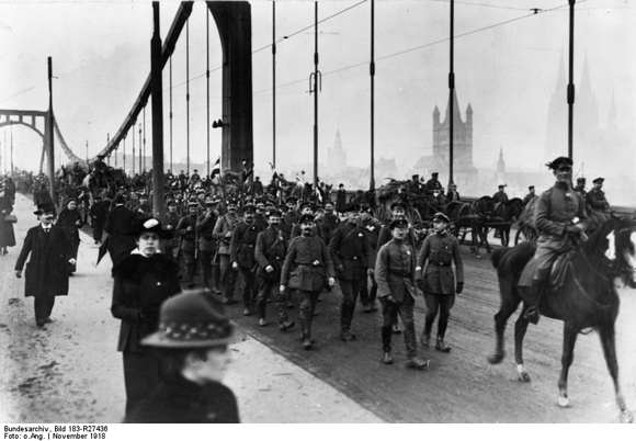 Returning German Troops Cross the Rhine at Cologne (November 1918)
