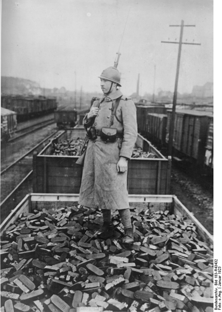 A French Soldier Guards a Freight Yard in the Occupied Ruhr Region (January 1923)