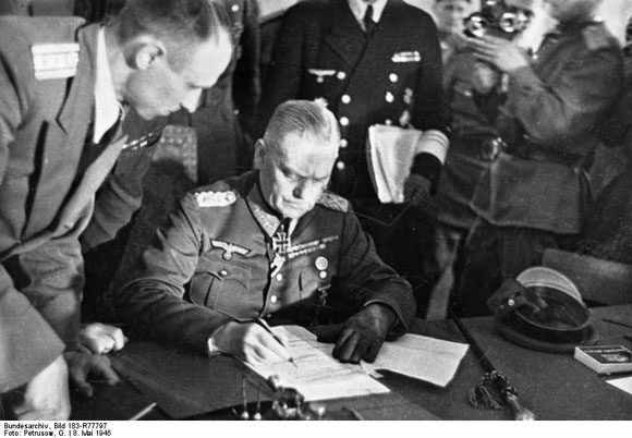 General Wilhelm Keitel Signing the Act of Military Surrender (May 8, 1945)