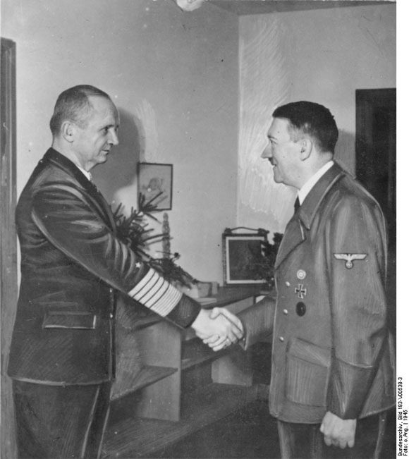 Hitler Welcomes Admiral Karl Dönitz to His Bunker (1945)