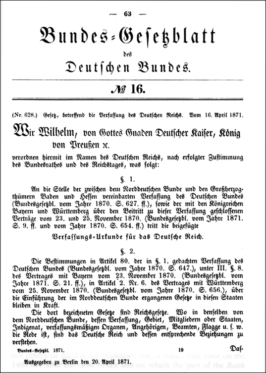 The Constitution of the German Empire (April 16, 1871)