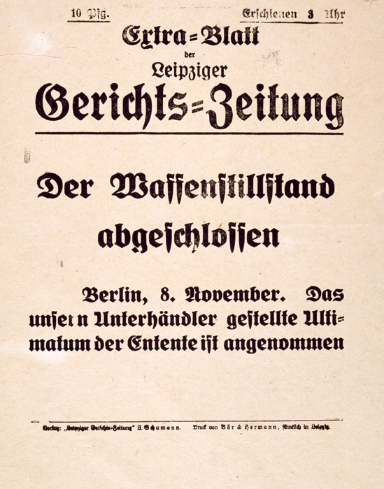 "Supplement to the <i>Leipzig Court Journal</i>: ""Armistice Accepted"" (8. November 1918)"
