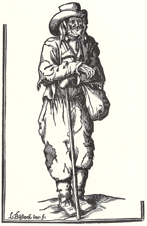 Beggar with Staff and Linen Bag (17th Century)