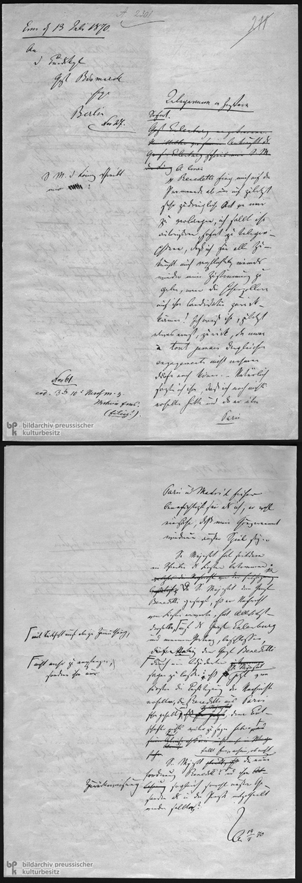 Ems Dispatch, Original (Pages 1 and 2) (July 13, 1870)