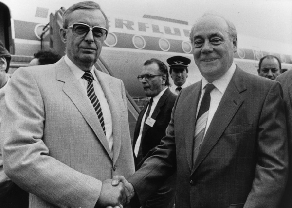 Ernst Breit and Harry Tisch in Düsseldorf (1985)