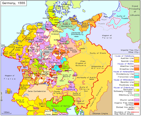 Germany with Imperial and other Cities (c. 1555)