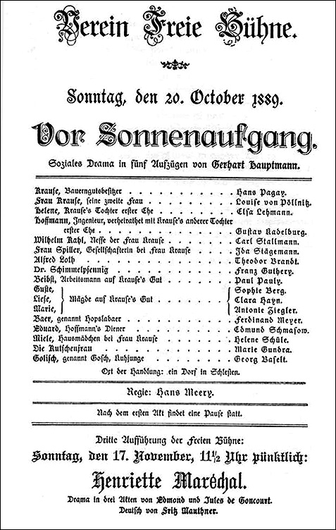 Playbill for Gerhart Hauptmann's <i>Before Daybreak</i> [<i>Vor Sonnenaufgang</i>] (October 20, 1889)