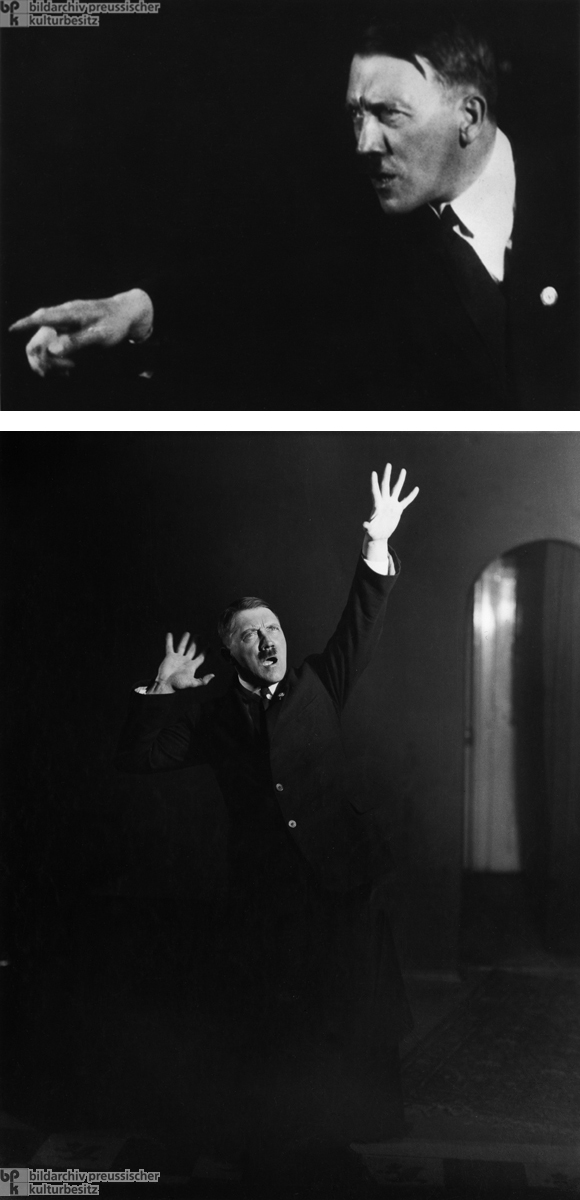 Adolf Hitler Practicing Rhetorical Poses in Heinrich Hoffmann's Studio  (c. 1927)